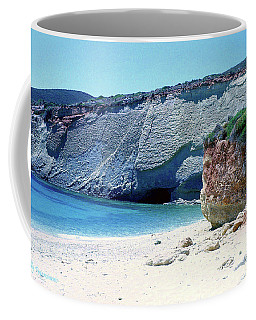 Coffee Mug featuring the pyrography Desolated Island Beach by Elly Potamianos
