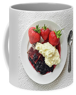 Dessert With Strawberries And Whipped Cream Coffee Mug by GoodMood Art