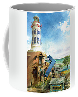 Coffee Mug featuring the painting Destin Lighthouse by Andrew King