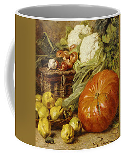 Detail Of A Still Life With A Basket, Pears, Onions, Cauliflowers, Cabbages, Garlic And A Pumpkin Coffee Mug