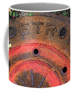 Detroit Manhole Cover Spray Painter Red Coffee Mug by Sandra Church