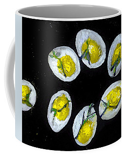 Coffee Mug featuring the painting Devilled Eggs In Space by Lisa Kaiser