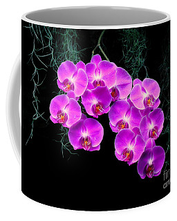Coffee Mug featuring the photograph Dew-kissed Orchids by Sue Melvin