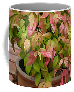 Coffee Mug featuring the painting Dew On Leaves by Ivana Westin