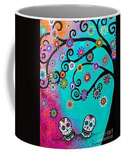 Coffee Mug featuring the painting Dia  De Los Muertos Special Couple by Pristine Cartera Turkus