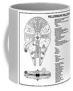 Diagram Illustration For The Millennium Falcon From Star Wars With Technical Data Information Coffee Mug