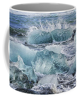 Coffee Mug featuring the photograph Diamond Beach Blue Ice In Iceland by Matthias Hauser