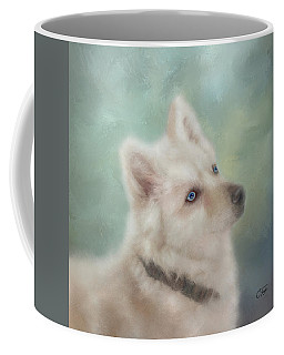 Coffee Mug featuring the mixed media Diamond, The White Shepherd by Colleen Taylor