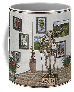 Coffee Mug featuring the mixed media Digital Exhibition _ Modern  Statue 1   Of Dancing Girl by Pemaro