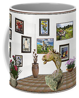 Coffee Mug featuring the mixed media Digital Exhibition _  Sculpture Of A Horse by Pemaro