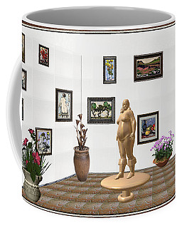 Coffee Mug featuring the mixed media digital exhibition  Statue 22 of posing lady  by Pemaro