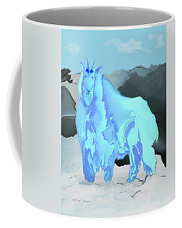 Digital Mountain Goat Coffee Mug by Kae Cheatham