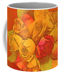 Digital  Rose Bouquet Painting Coffee Mug by Linda Phelps