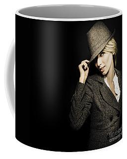 Discreet Woman In Vintage Fashion Coffee Mug