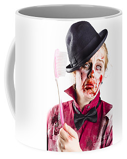 Coffee Mug featuring the photograph Diseased Woman With Big Toothbrush by Jorgo Photography - Wall Art Gallery