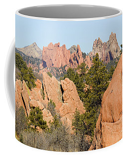 Distant Garden Of The Gods From Red Rock Canyon Coffee Mug