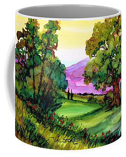 Coffee Mug featuring the painting Distant Hills by Val Stokes