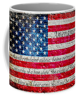 Distressed American Flag And Second Amendment On White Bricks Wall Coffee Mug