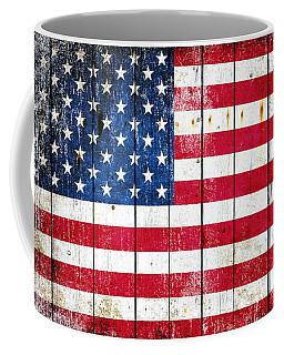 Distressed American Flag On Wood Planks - Horizontal Coffee Mug