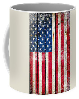 Distressed American Flag On Wood - Vertical Coffee Mug