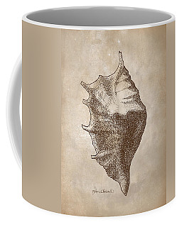 Coffee Mug featuring the drawing Distressed Antique Nautical Seashell 1  by Karen Whitworth