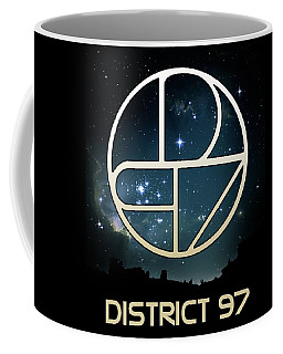 Coffee Mug featuring the digital art District 97 Logo by District 97
