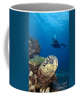 Diver And Green Sea Turtl Coffee Mug