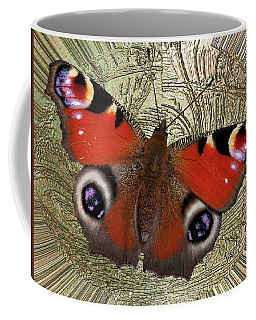 Divinity Gold Peacock Butterfly Coffee Mug by Richard Thomas