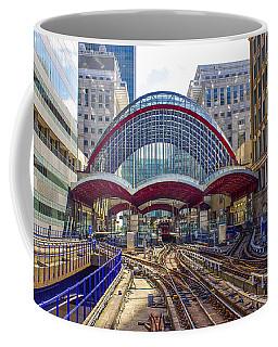 Dlr Canary Wharf And Approaching Train Coffee Mug