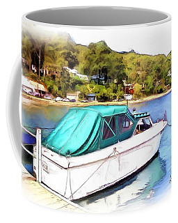 Coffee Mug featuring the photograph Do-00276 Green Boat In Killcare by Digital Oil