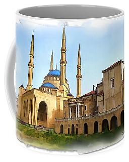 Coffee Mug featuring the photograph Do-00362al Amin Mosque And St George Maronite Cathedral by Digital Oil
