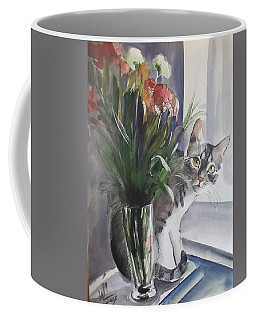 Do You See Me? Pet Portrait In Watercolor .modern Cat Art With Flowers  Coffee Mug