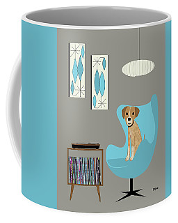 Coffee Mug featuring the digital art Dog In Egg Chair by Donna Mibus