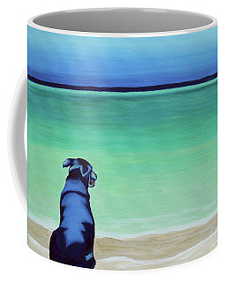 Dog On Longbay Beach Coffee Mug