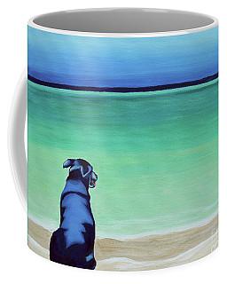 Black Lab Dog On The Beach Coffee Mug