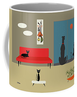 Coffee Mug featuring the digital art Dog Spies Alien by Donna Mibus