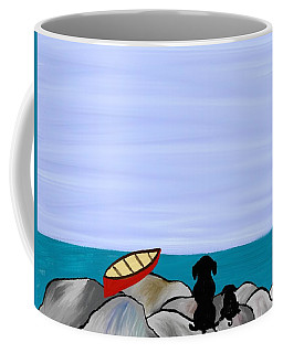Dogs At Beach Coffee Mug by Paula Brown