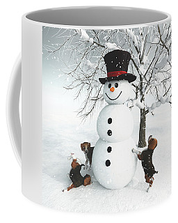 Dogs Discovering A Snowman Coffee Mug
