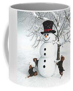 Dogs Discovering A Snowman Coffee Mug