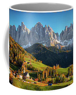 Dolomite Village In Autumn Coffee Mug