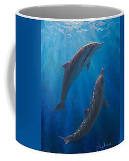 Dolphin Dance - Underwater Whales - Ocean Art - Coastal Decor Coffee Mug