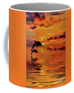 Coffee Mug featuring the digital art Dolphin Silhouette Sunset By Kaye Menner by Kaye Menner