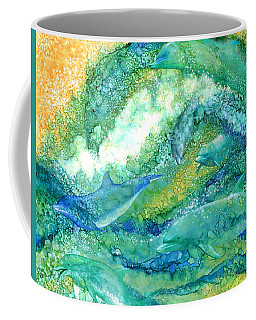 Coffee Mug featuring the mixed media Dolphin Waves 2 by Carol Cavalaris