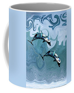 Dolphins Playing In The Waves Coffee Mug