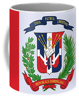 Coffee Mug featuring the drawing Dominican Republic Coat Of Arms by Movie Poster Prints