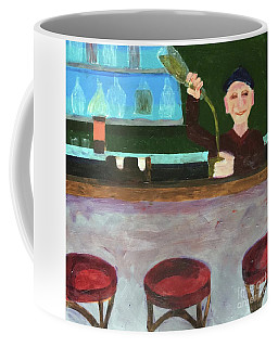 Coffee Mug featuring the painting Don At Tres Gringos Bartending by Donald J Ryker III