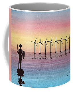 Don Quixote Vs The Windmills Coffee Mug by Edwin Alverio