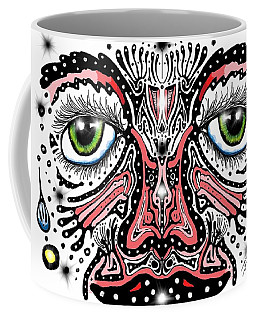 Coffee Mug featuring the digital art Doodle Face by Darren Cannell