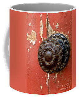 Door Knob On Red Door Coffee Mug