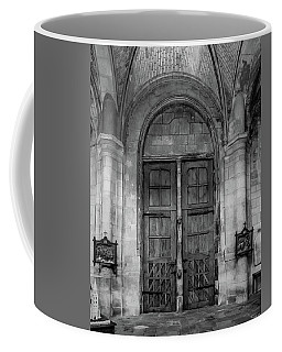 Coffee Mug featuring the photograph Poissy, France - Doors From Within, Notre-dame De Poissy by Mark Forte